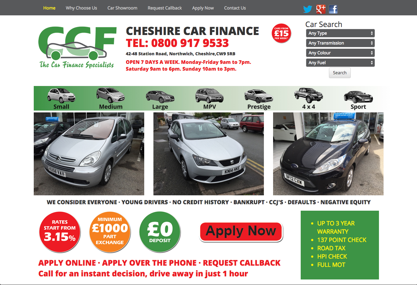 Cheshire Car Finance Website picture